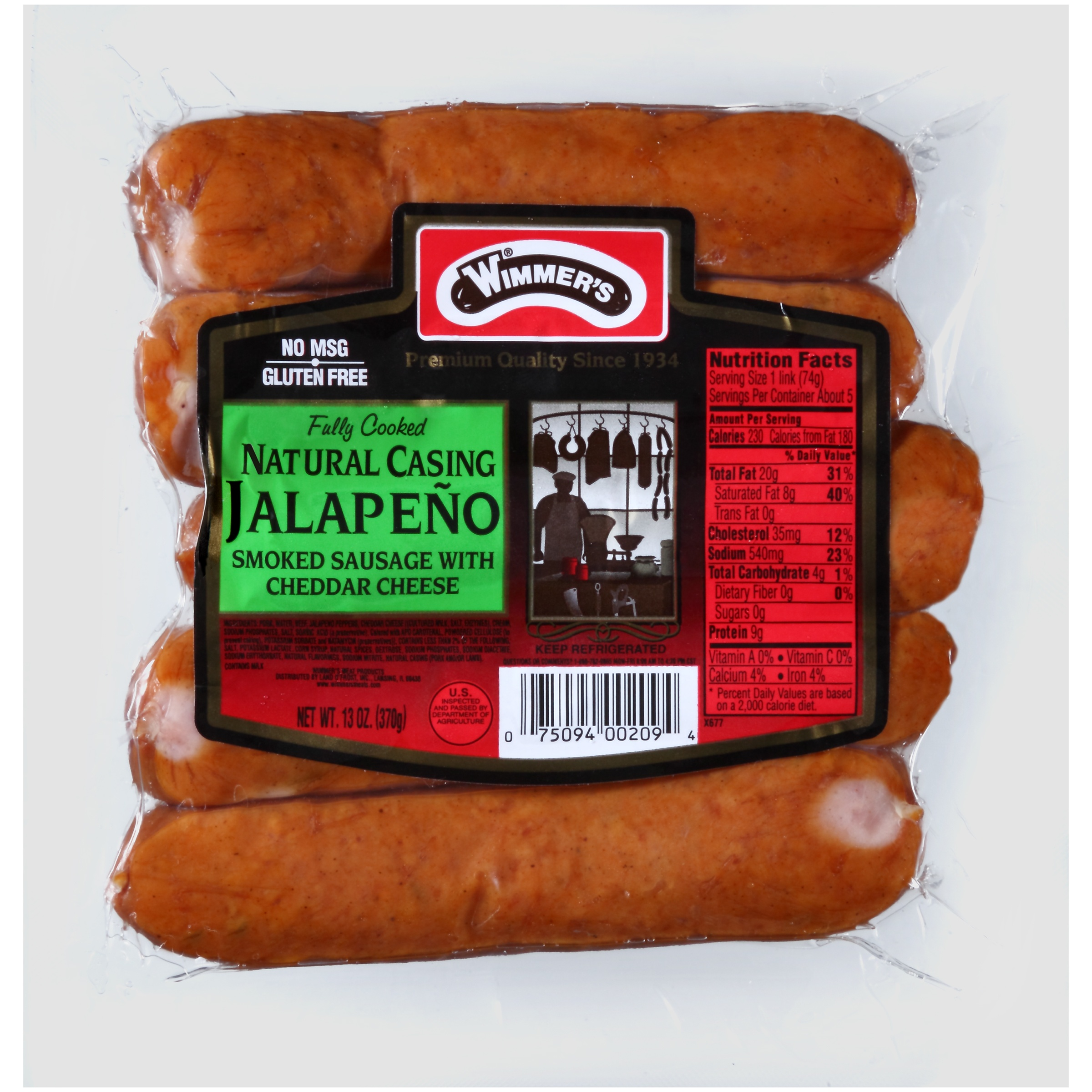 Wimmer's® Natural Casing Jalapeño Smoked Sausage with Cheddar Cheese 5 ct Pack