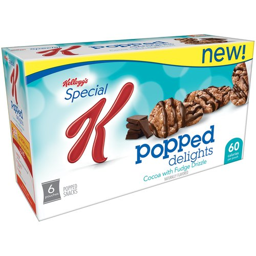 Kellogg's Special K Popped Delights Cocoa with Fudge Drizzle Popped Snacks, 0.42 oz, 6 ct