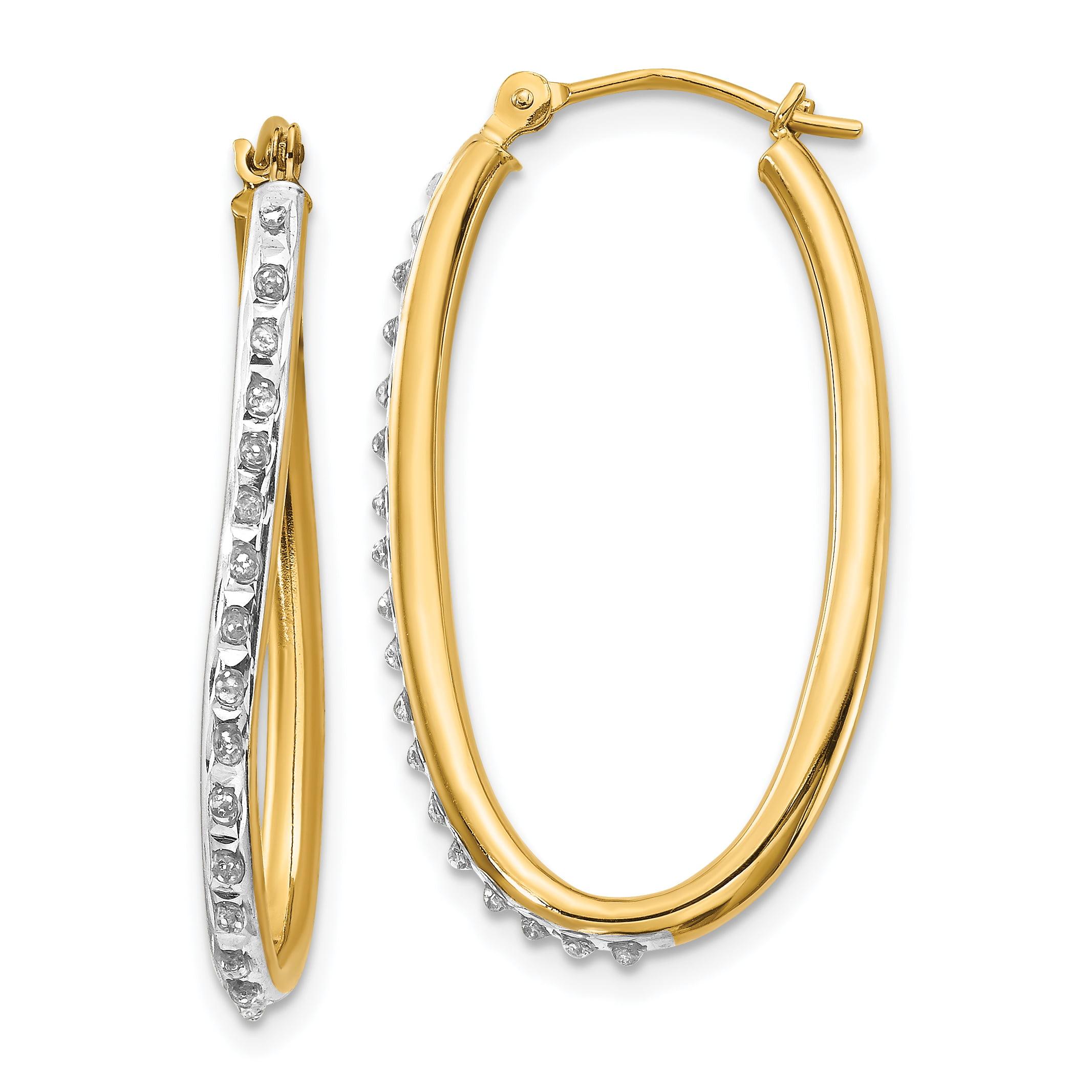 14k Yellow Gold Diamond Fascination Oval Twist Hoop Earrings Ear Hoops Set Fine Jewelry Gifts For Women For Her - image 2 de 2