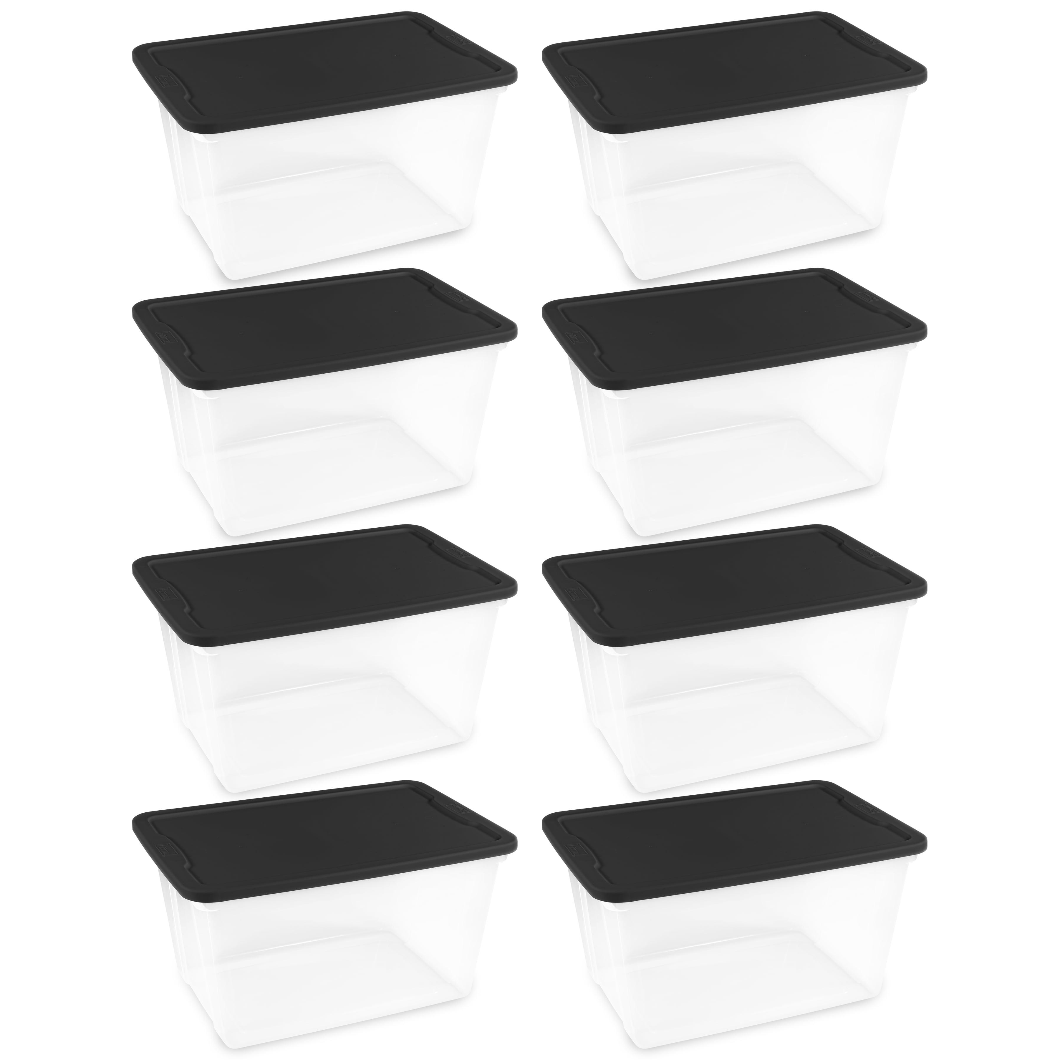 Homz 56 Qt Plastic Storage Tote, Multiple Colors Available (Set of 8)