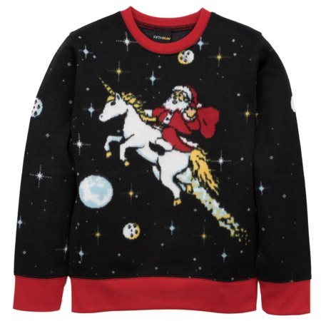 boys black santa riding a unicorn ugly christmas sweater outer space top