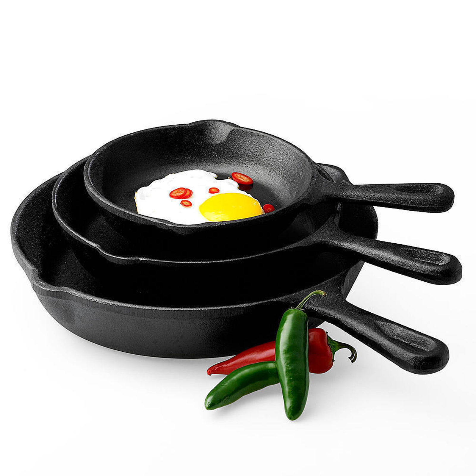 3pcs Pre-seasoned Cast Iron Skillet Set Stove Oven Fry Pan Pots Cookware Cooking