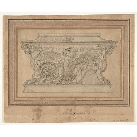"Design for a Casket with the Gonzaga Eagle Poster Print by Giulio Romano (Italian Rome 1499  ""1546 Mantua) (18 x (Romano Rome Italy Framed)"