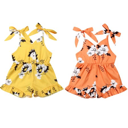 Kids Orange Jumpsuit (Toddler Baby Girl Sleeveless Romper Bodysuit Outfits Jumpsuit Playsuit)