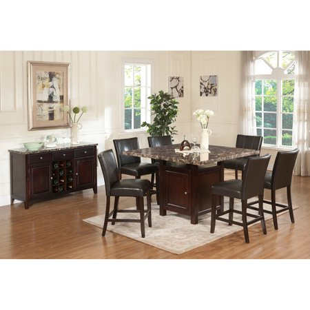 Samantha 7pc Veener Counter Height Dining Table Set With Storage