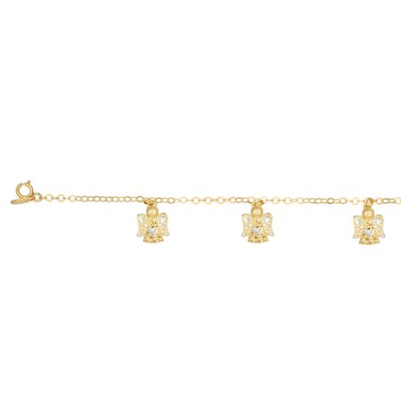 Angel Bracelet (14K Yellow Gold Diamond Cut 5 Stationed Angels Element on Link Bracelet with Lobster)