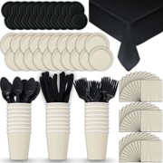 Paper Tableware Set for 24 - Cream & Black - Dinner and Dessert Plates, Cups, Napkins, Cutlery (Spoons, Forks, Knives), and Tablecloths - Full Two-Tone Party Supplies Pack