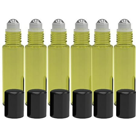6 Pack - Empty Roll on Glass Bottles [STAINLESS STEEL ROLLER] 10ml Refillable Color Roll On for Fragrance Essential Oil - Metal Chrome Roller Ball - 10 ml 1/3 oz - Yellow Color