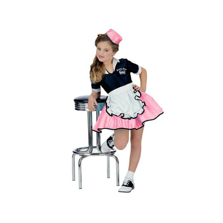 Pink Child 50s Car Hop Girl (50's Car Hop Waitress Costume)