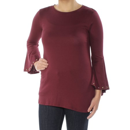 Studded High Top (MICHAEL KORS Womens Burgundy Studded Bell Sleeve Crew Neck Wear To Work Top  Size:)