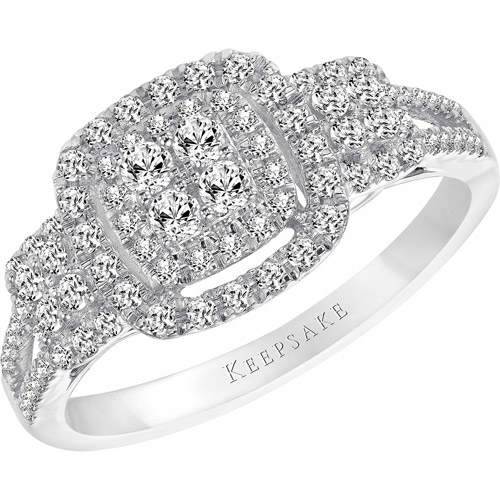 Keepsake Bestow 1/2 Carat T.W. Round Diamond Sterling Silver Engagement Ring