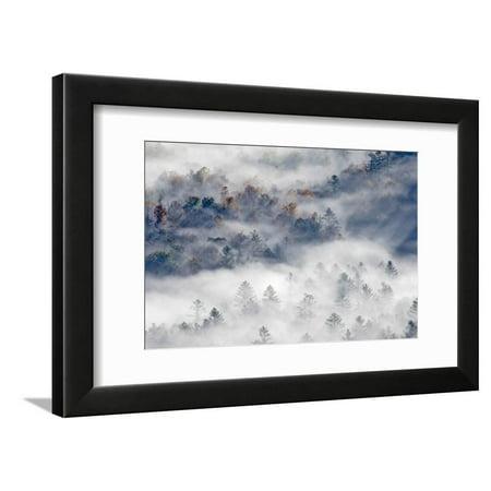 Foggy Valley at Sunrise, Pounding Mill Overlook, North Carolina Framed Print Wall Art By Adam (Sunrise Mills)