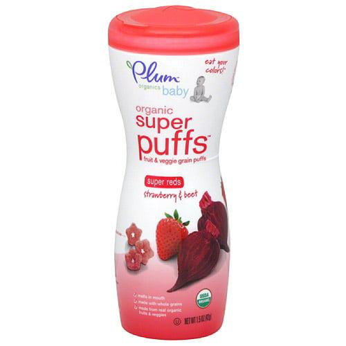 Plum Organics Baby Organic Super Puffs Super Reds Strawberry & Beet Fruit & Veggie Grain Puffs, 1.5 oz, (Pack of 4)