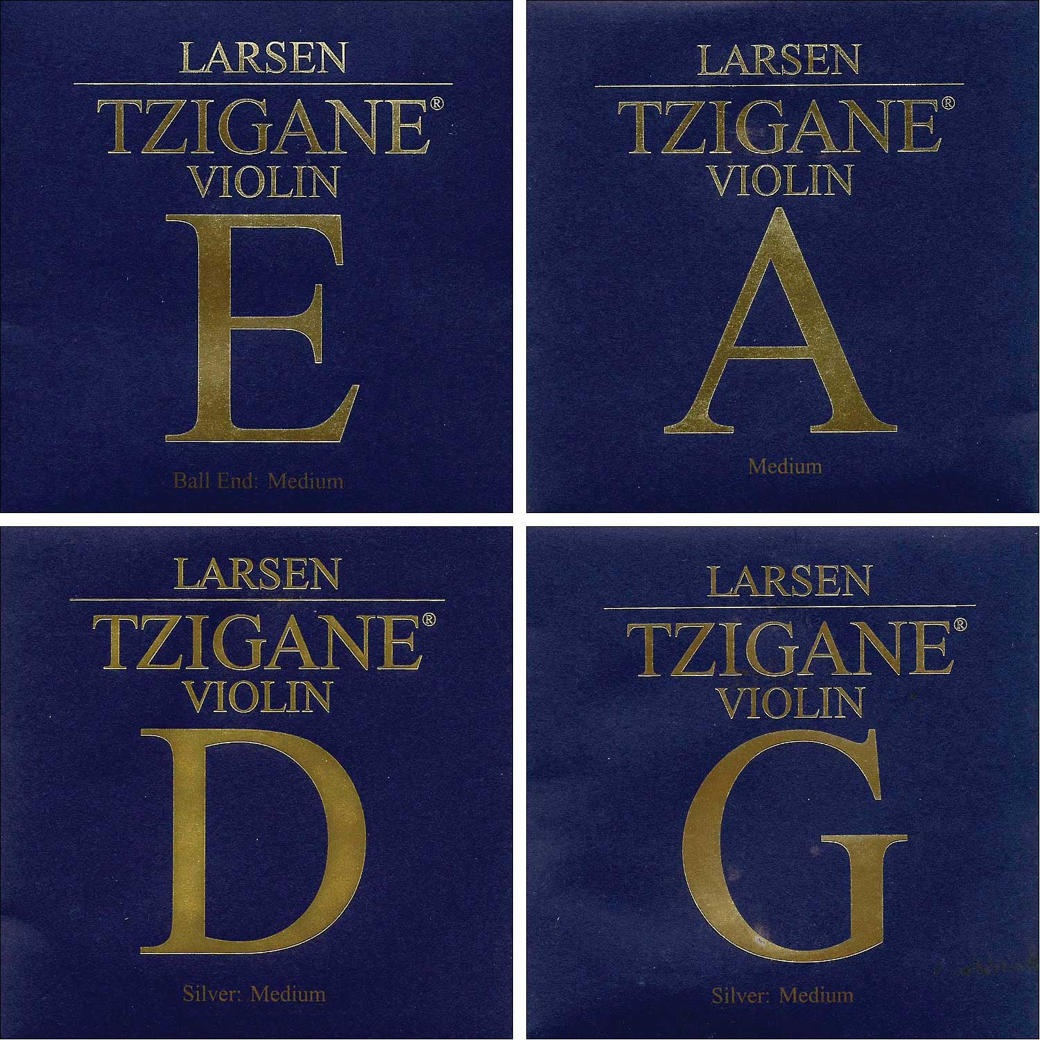Larsen Tzigane 4 4 Violin String Set Medium Gauge Ball End E by Larsen