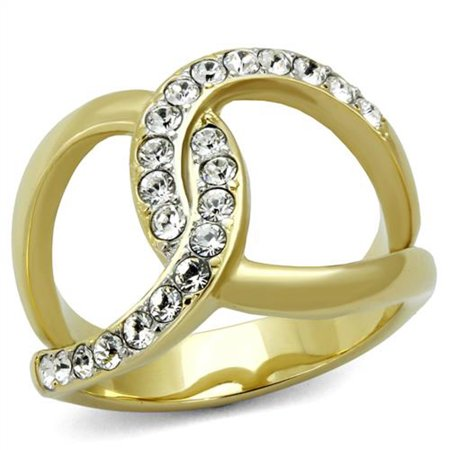14k Gold Plated Stainless Steel Crystal Infinity Fashion Ring Women's Size 10