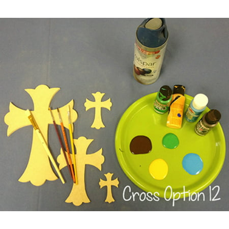 Wooden Cross Cutout, 16'' Paintable Wood Cross, Unfinished Craft (12)
