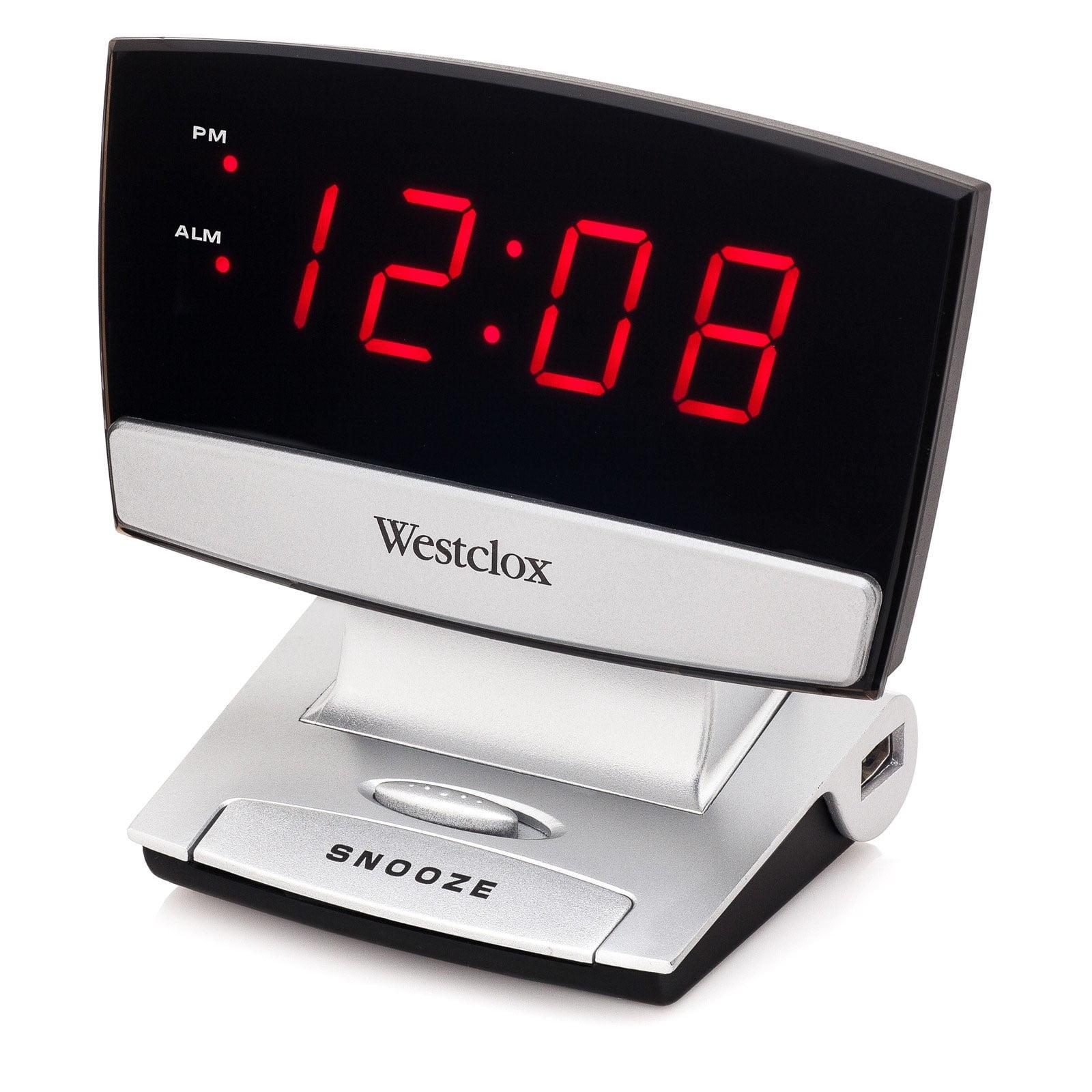 Westclox LED Display Alarm Clock with USB Charging Port- Style# 71014X