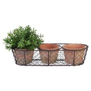 Esschert Design Aged Terracotta 3-Flowerpots in Metal Basket