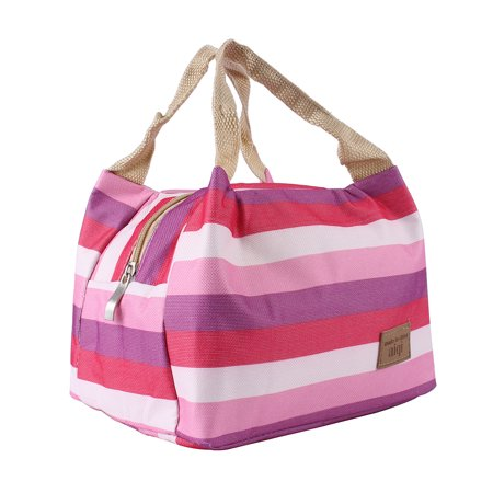 - Hilitand Striped Lunch Bag PRO Insulated Thermal Cooler Lunch Box Carry Tote Picnic Case Storage Bag Purple