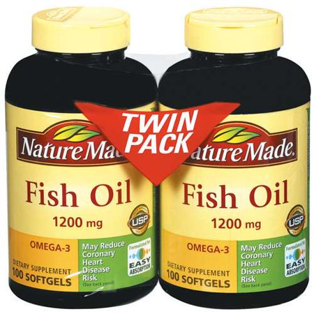 Nature made fish oil 1200 mg omega 3 softgels 100 ct each for Spring valley fish oil 1200 mg
