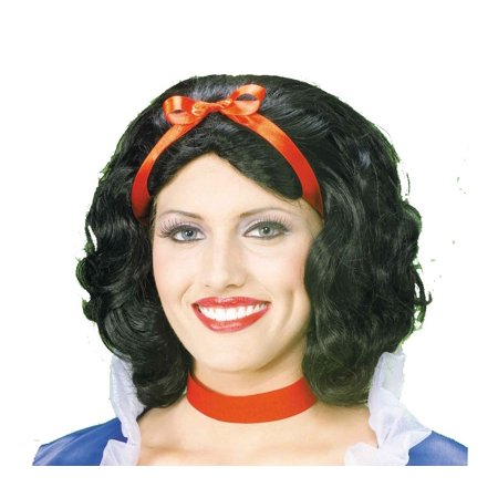 SNOW WHITE WIG short black hair womens halloween princess accessory costume - Halloween Snow Globe Song