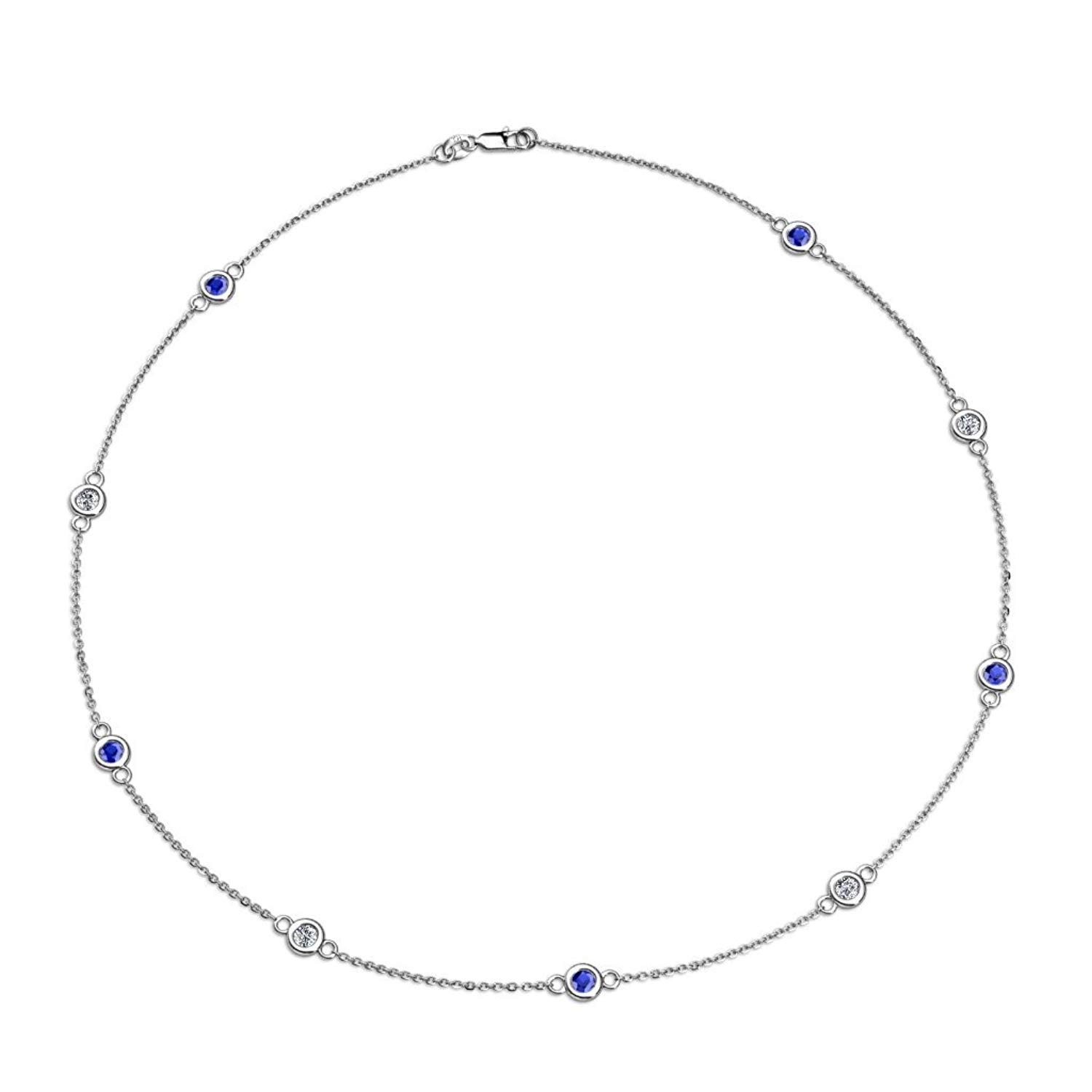 Blue Sapphire and Diamond (SI2-I1, G-H) 9 Station Necklace 1.39 cttw in 14K White Gold by TriJewels