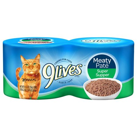 Image of 9Lives Meaty Pat; Super Supper Wet Cat Food, 4/5.5-Ounce Cans