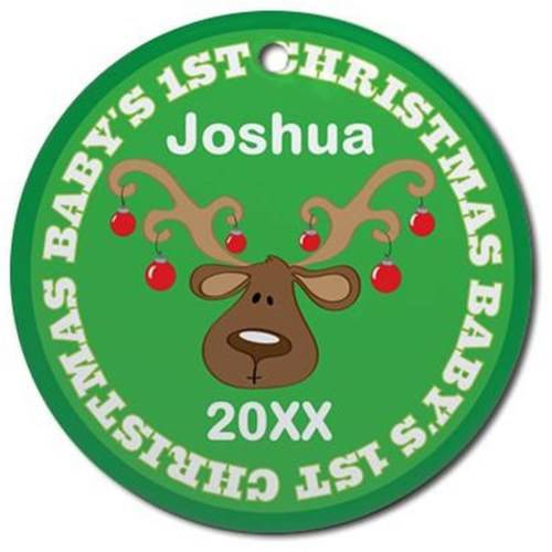 CafePress Personalized Babys 1st Christmas Reindeer Ornament