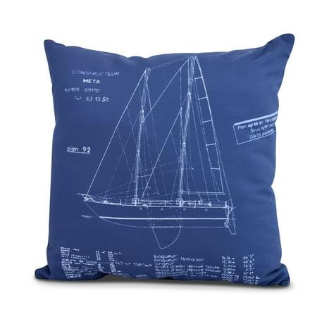 Simply Daisy, 18 x 18 Inch, Sail Plan, Geometric Print Outdoor Pillow, Blue Print Blue ()