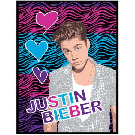 Justin Bieber Zebra Print Hearts Large Plush Bed Blanket