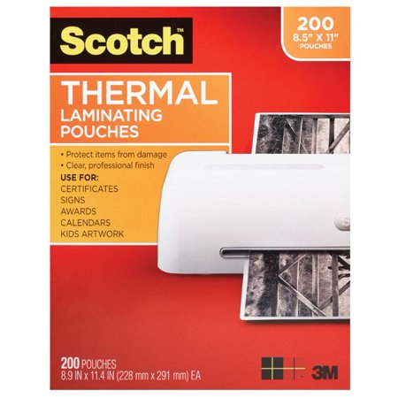 - Scotch Thermal Laminating Pouches 200 Count, Letter Size Sheets