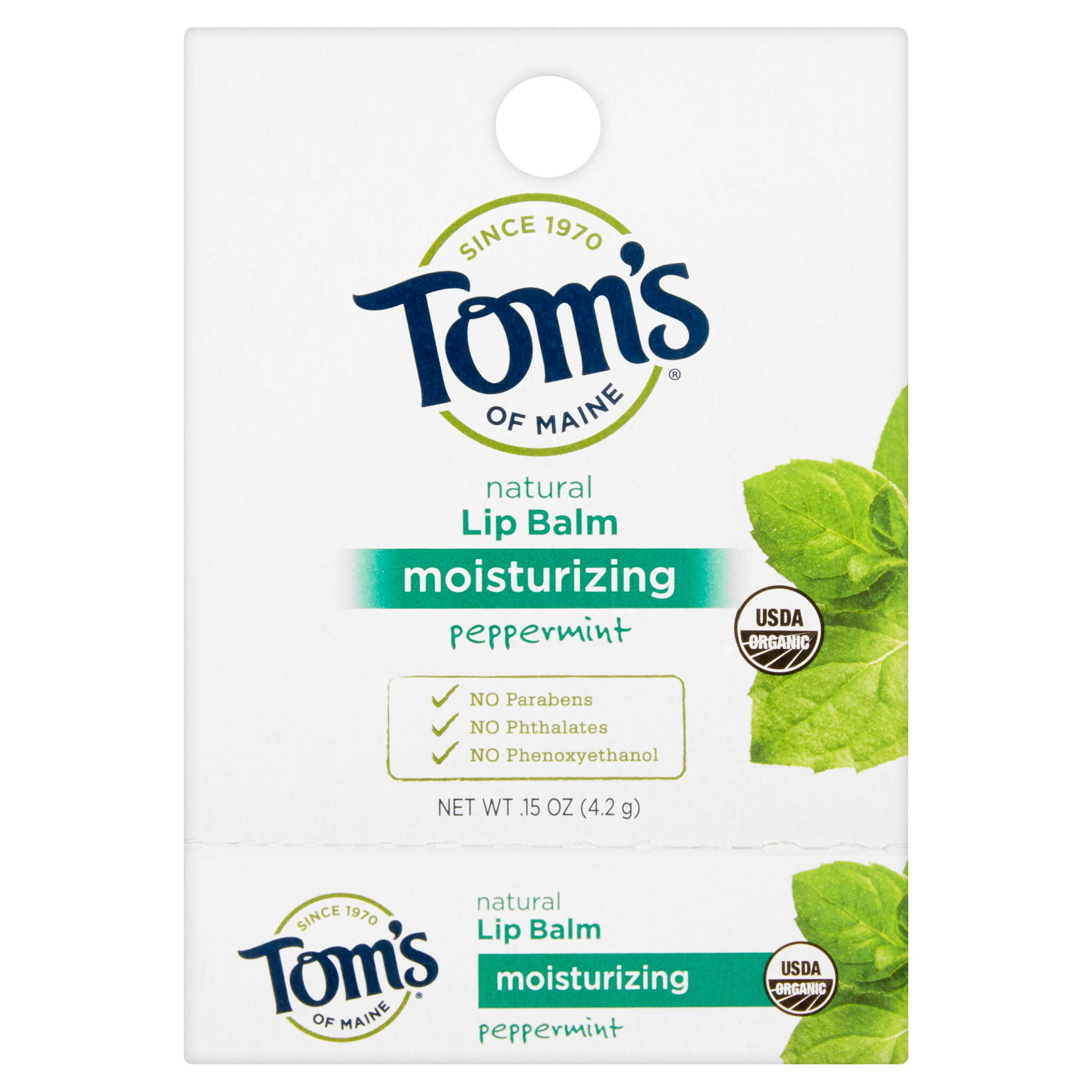 Tom's of Maine Peppermint Moisturizing Natural Lip Balm, .15 oz