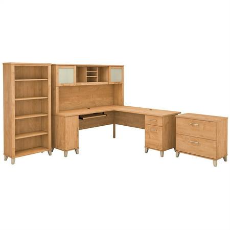 Bush Furniture Somerset 72W L Shaped Desk Office Suite in Maple Cross