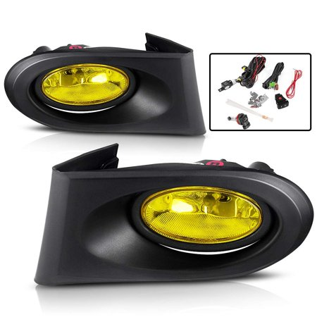 Fog Lights For Acura RSX 2002 2003 2004 fog lights (Real Glass Yellow Lens with Bulbs & Wiring Harness),1 Year Warranty