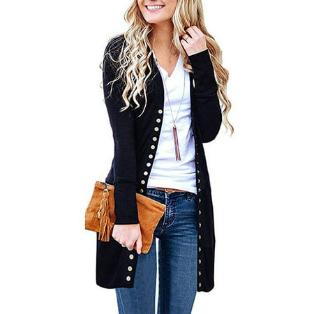Women's Long Sleeve Snap Button Down Solid Color Knit Ribbed Neckline (Womens Black Snap)