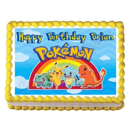 1 4 Sheet Pokemon Party Rainbow Edible Frosting Cake Topper