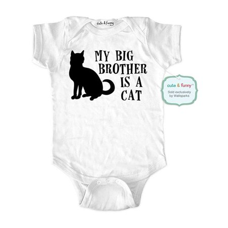 My big brother is a cat - wallsparks cute & funny Brand - baby one piece bodysuit - Great baby shower (Gifts For Big Brother At Baby Shower)