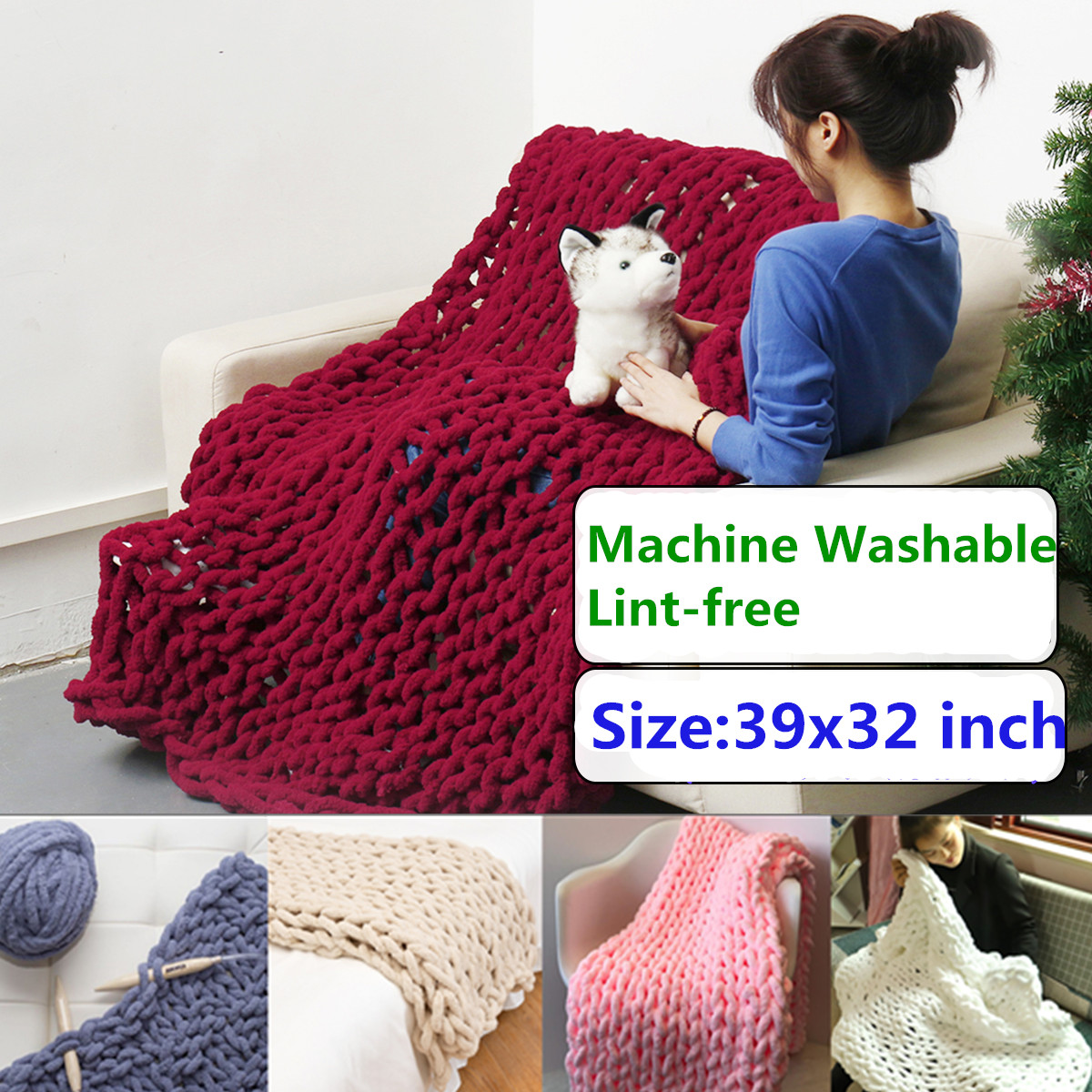39x32 inch Washable Hand-woven Bulky Warm Soft Chunky Knit Blanket Lint-free Thick Yarn Knitted Bedding Sofa Throw