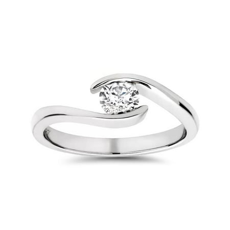 Solitaire Round Diamond Engagement Ring 1/3 ct Bypass Tension Set 14k White -