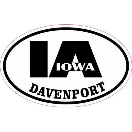 4in x 2.5in Oval IA Davenport Iowa Sticker - Party City Davenport Ia