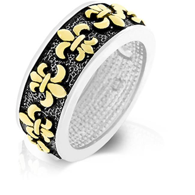 Kate Bissett R07944T-V00-05 14k Gold and Genuine Rhodium Plated Antique Fleur De Lis Eternity Ring in Silvertone - Size