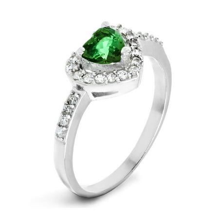 d520782b13281 ELYA Sterling Silver Emerald Green Heart Cubic Zirconia Halo Ring