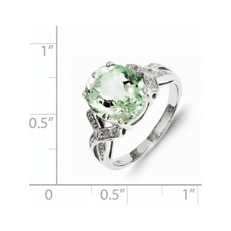 Sterling Silver Rhodium Green Quartz Diamond Ring - image 1 of 2