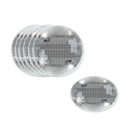 Club Pack of 96 Shiny Silver Disco Ball Decorative Round Coasters 3.5