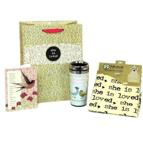 Full Circle Exchange 4 Piece Travel Mug, Apron, Gift Bag and Card Set