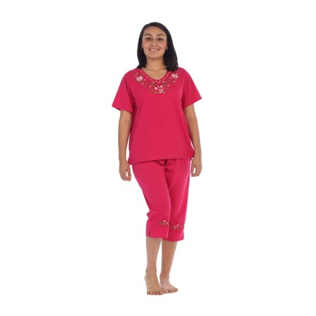 Unik Women's Short Sleeve Embroidered Roses Blouse and Matching Capri Set, Fuchsia Size 3XL Fuchsia Suede Tops