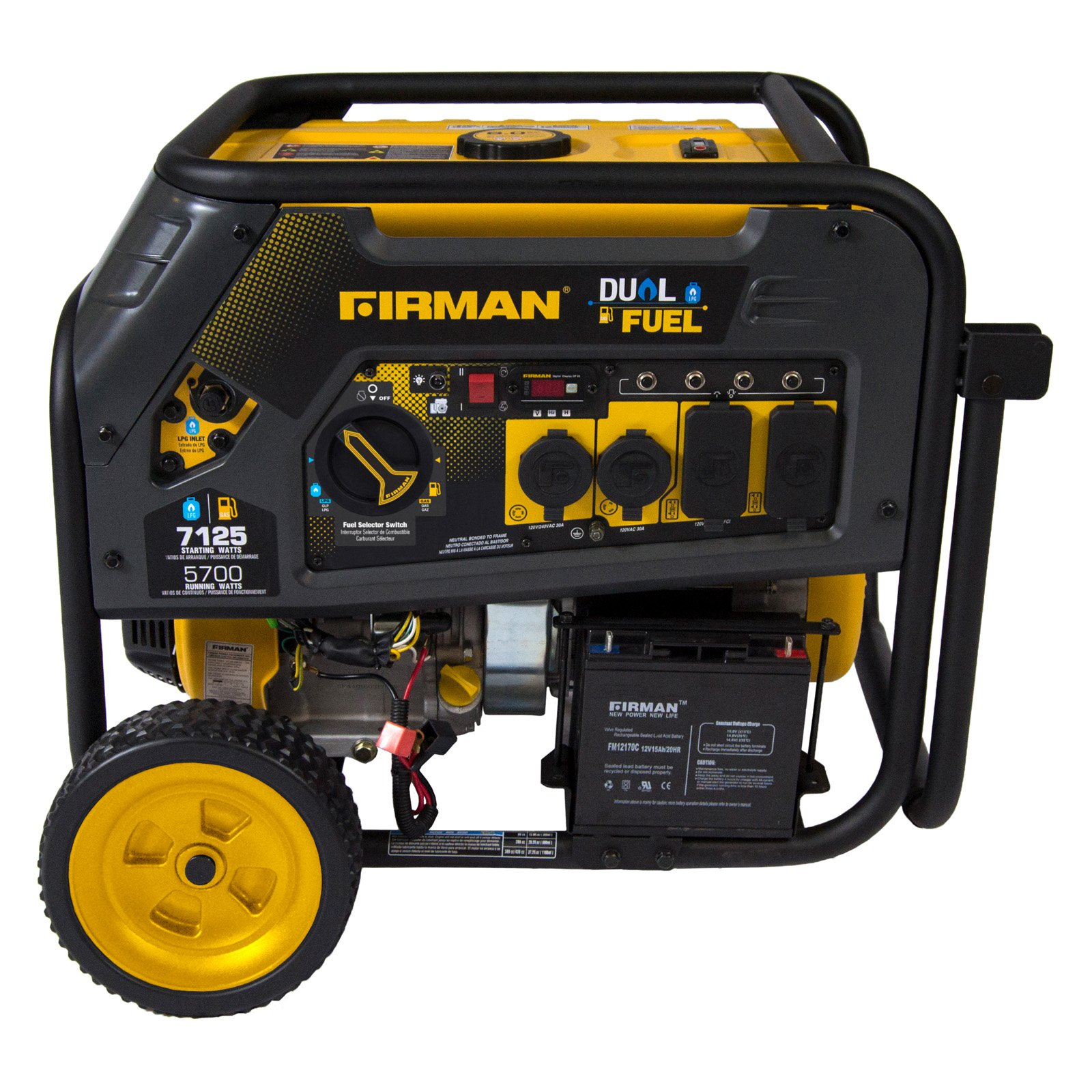 FIRMAN 4550/3650 Watt Recoil Start Gas or Propane Dual Fuel Portable Generator CARB and cETL Certified With Wheel Kit