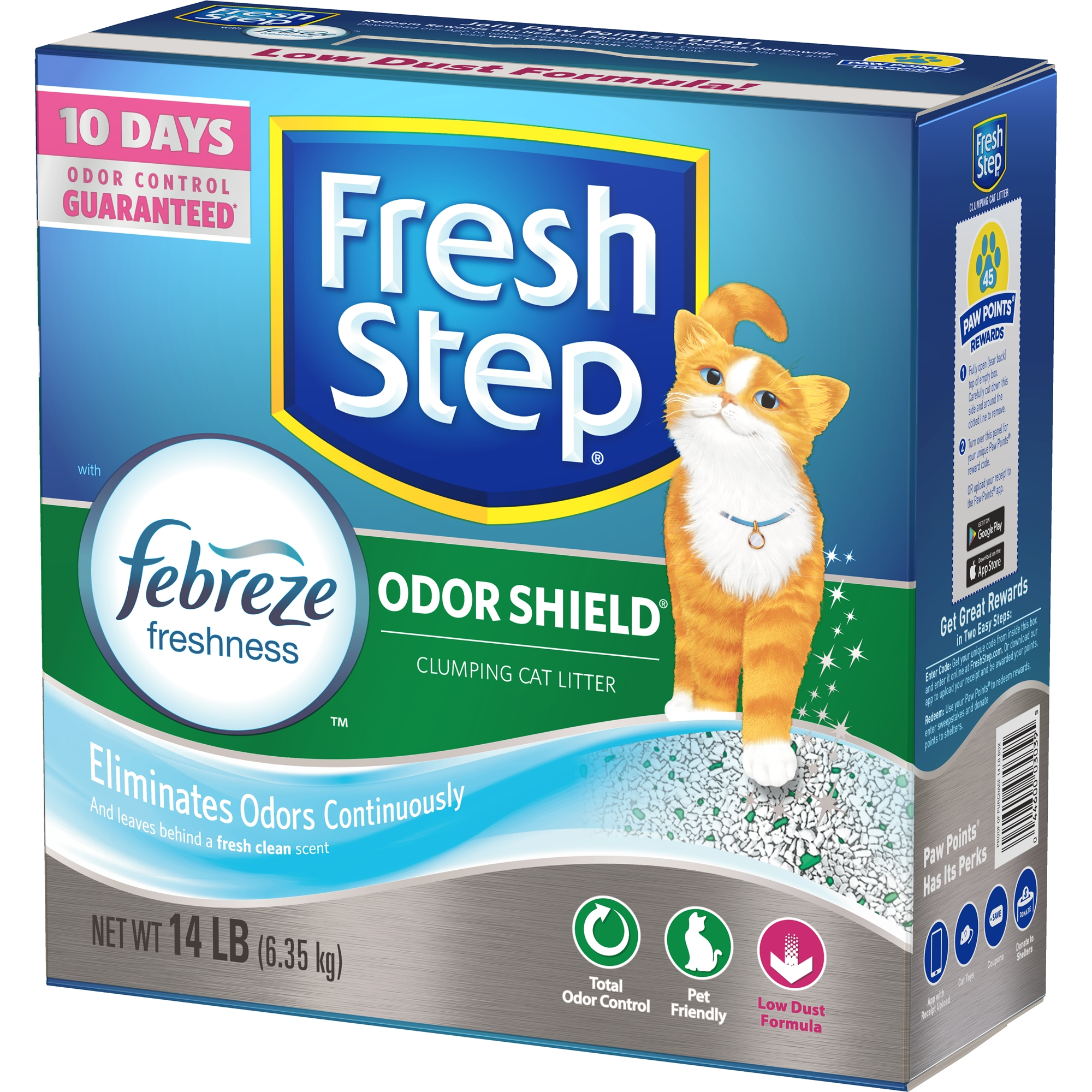 Fresh Step Odor Shield Scented Litter with the Power of Febreze, Clumping Cat Litter, 14-lb