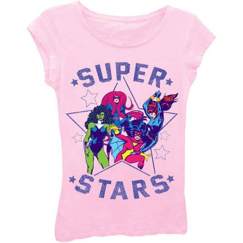 "Marvel Avengers Girls' ""Super Stars"" Classic Comic Group Shot Short Puff Sleeve Graphic Tee T-Shirt With Purple Glitter"