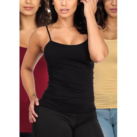SUPER MEGA DEAL! BEST VALUE! Womens Juniors ONE SIZE Stretchy Solid Black Beige Burgundy Seamless Spaghetti Strap Tops (3 PACK) PackOne6